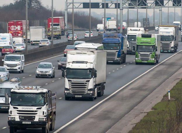 lorries on a motorway