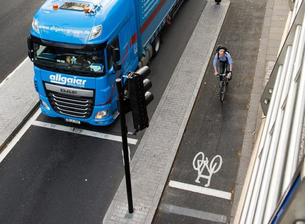lorry and a cyclist